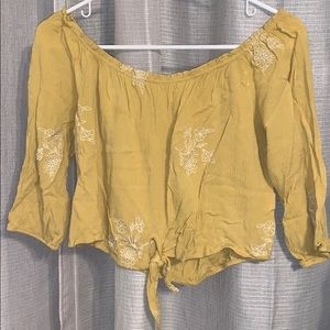 MUSTARD YELLOW OFF THE SHOULDER TOP